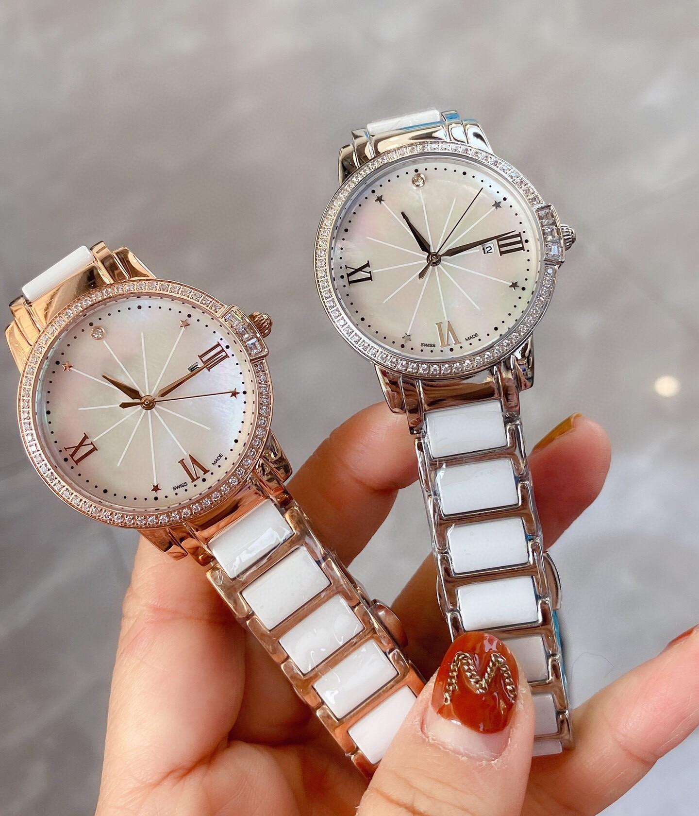 New Stainless steel geometric star watch ladies mother of pearl ceramic Wristwatch Luxury women roman number quartz clock 34mm