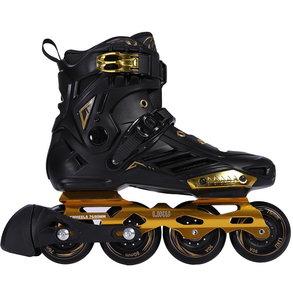 LIKU-حذاء تزلج على الجليد للمبتدئين ، أحذية رياضية عالية الجودة ، أحذية رياضية مسطحة فاخرة ، أسود وذهبي
