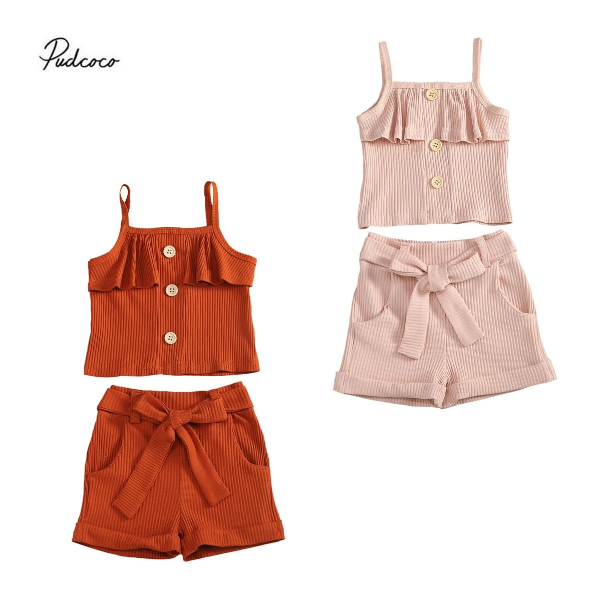 Летняя одежда для маленьких девочек Трикотажный жилет на пуговицах с оборками укороченные топы, шорты с бантиком, штаны хлопковая одежда дл...