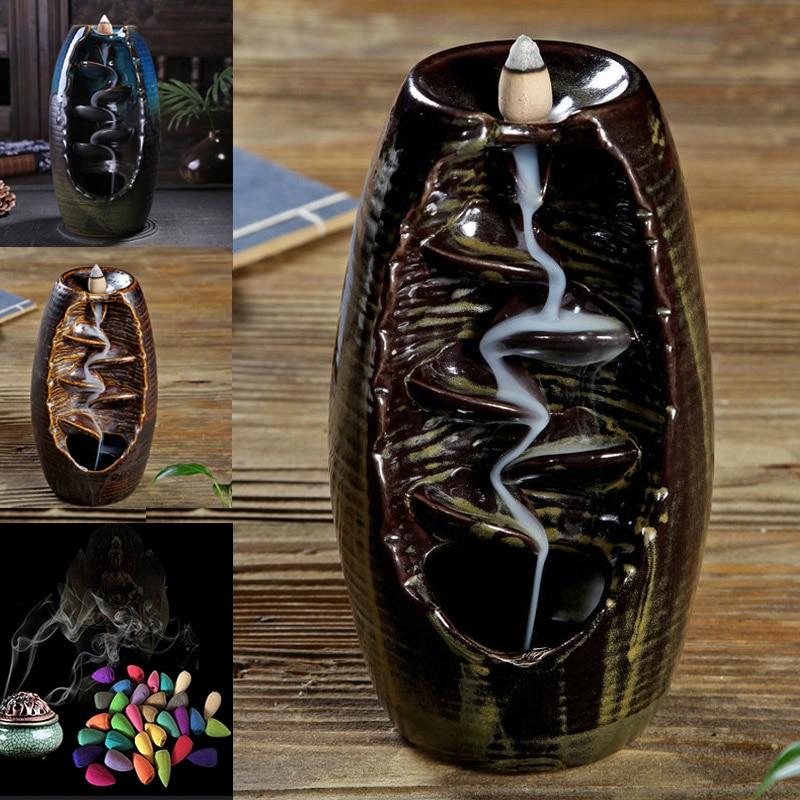 1 Pcs Backflow Censer Smoking Flow Ceramic Incense Holder Craft for Home Office --M25