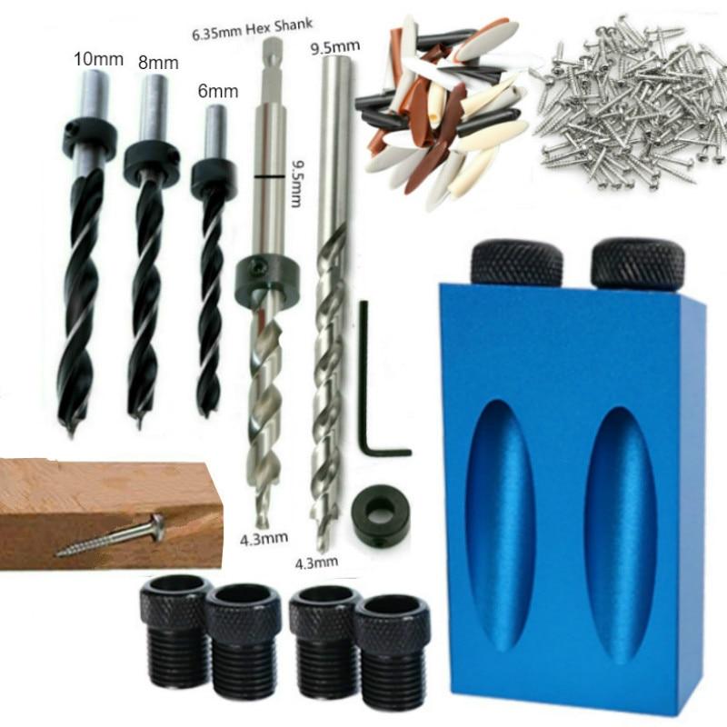 木工斜穴ロケータードリルビットポケット穴ジグキット、15度角度ドリルガイドセット、穴あけ器DIY大工道具