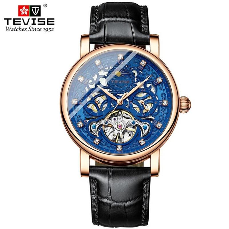 Fase da Lua Relógio de Couro Reloj Tevise Tourbillon Suíça Relógios Masculinos Relógio Automático Homem Auto-vento Moda Mecânica