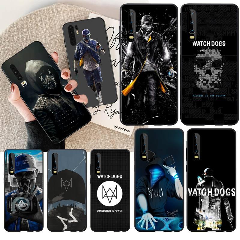 Funda de teléfono para Huawei P30, P20, Mate 20, Pro Lite, Smart Y9 prime 2019, de goma suave de TPU negra para reloj de perros