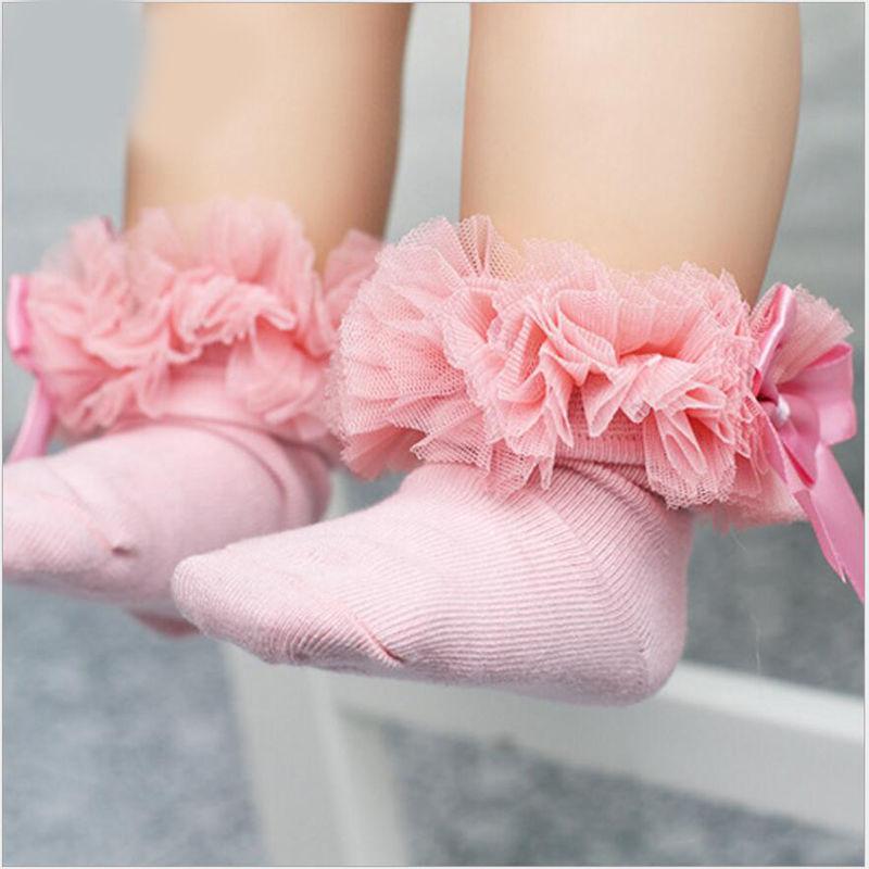 2 lazada de Princesa de encaje Floral para bebés y niñas pequeñas, calcetines hasta la rodilla de algodón con volantes y ribete con volantes, calcetines cortos de tobillo para niños grandes