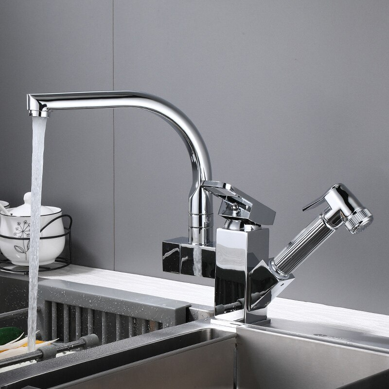 SIANCO Rotatable Chrome/Black Pull Out Sprayer Dual Holder Dual Hole Mixer Tap Deck Mounted Kitchen Basin Sink Faucet sianco single hole cold chrome rotatable brass kitchen faucet deck mounted besin sink faucet tap