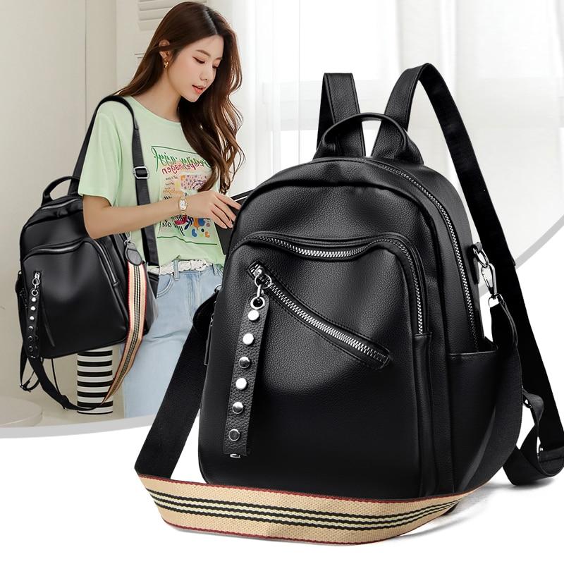 Classic Multifunction Women Backpack High Quality Soft Leather School Backpacks Lady Backbag Black Large Capacity Rivet Backpack