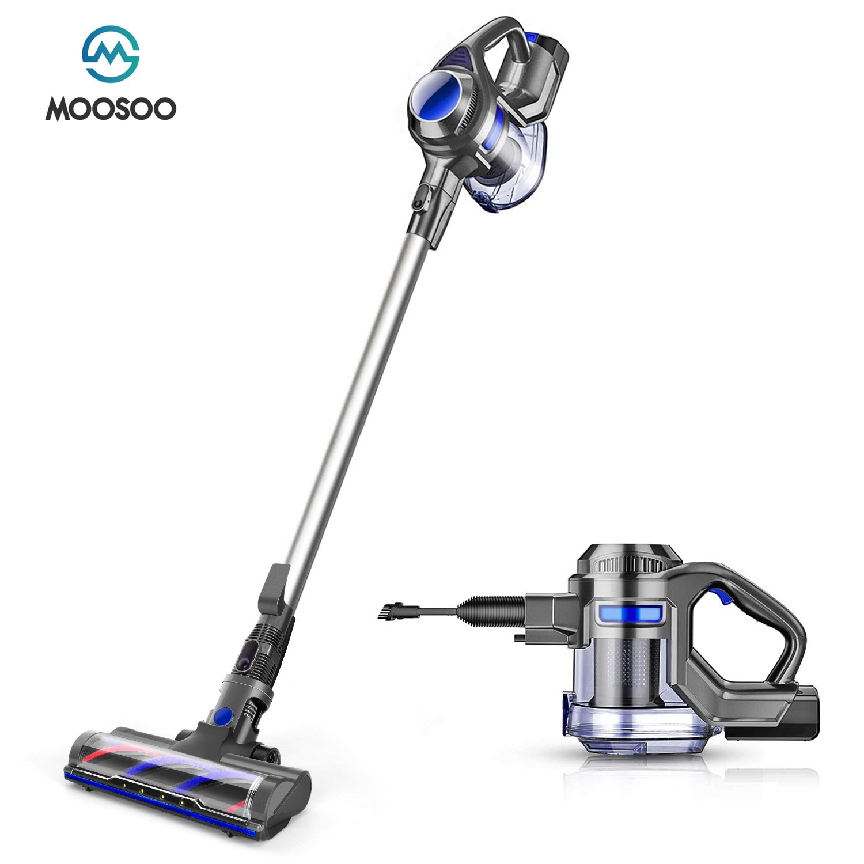 MOOSOO-مكنسة كهربائية محمولة لاسلكية X6 ، شفط 10 كيلو باسكال ، 120 واط ، 2200 مللي أمبير ، 1.3 لتر ، 4 في 1 ، للأرضيات الصلبة ، السجاد ، شعر الحيوانات الألي...