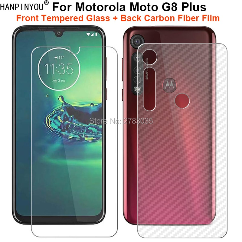 Para Motorola Moto G8 Plus 1 Set = Parte trasera suave de fibra de carbono pegatina de piel + Protector de pantalla frontal de vidrio templado Ultra fino