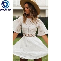 white sexy mini dress women new summer beach fashion lace short sleeve o neck backless vintage beautiful party dresses vestidos