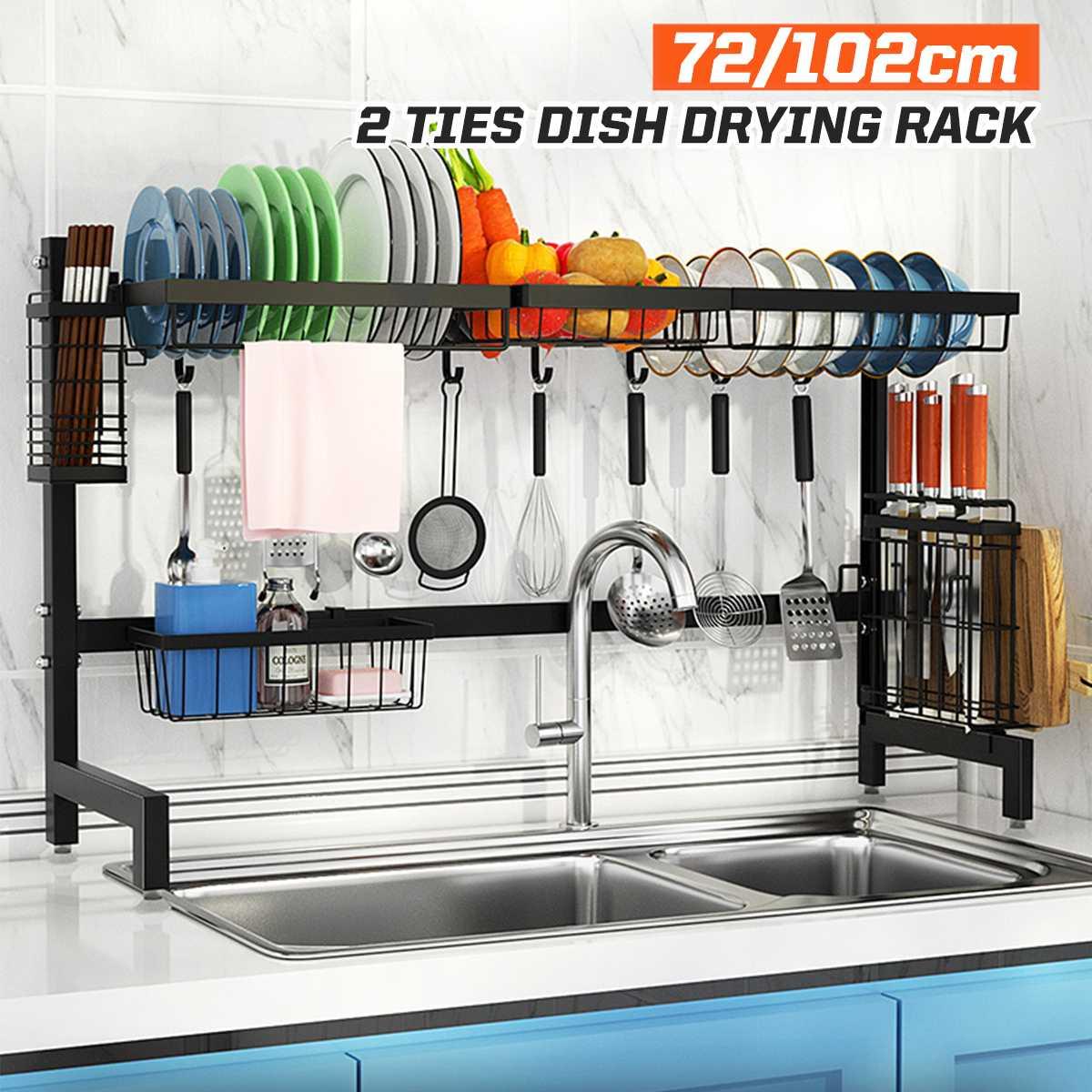 2 الطبقة الفولاذ المقاوم للصدأ رف مطبخ منظم أطباق تجفيف الرف على بالوعة استنزاف رف تخزين المطبخ كونترتوب أواني حامل