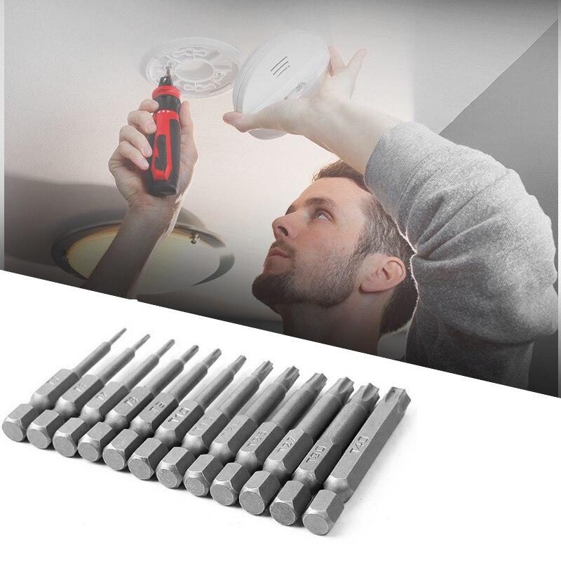 Juego de brocas de destornillador de 50mm, 12 Uds. De seguridad, a prueba de manipulaciones, brocas de destornillador magnéticas, herramientas de mano de cabeza plana de Torx hexagonal profesionales