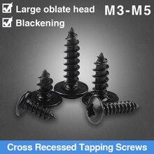In Acciaio al carbonio Nero di Grandi Dimensioni Testa Piatta Vite Autofilettante Croce Oblate Vite di Legno M3 M4 M5