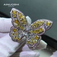 ainuoshi luxury 6x9 5mm pear shaped sona diamond engagement rings gift for 925 sterling silver exquisite butterfly rings