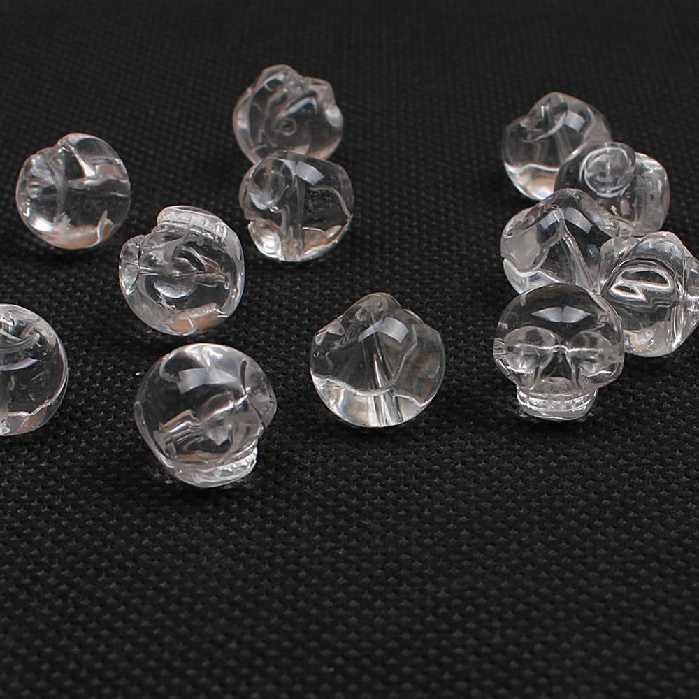 Natural Quartz Skull Crystal Horizontal Vertical Hole Gemstone Loose Beads 8 10 12mm For Necklace Bracelet DIY Jewelry Making