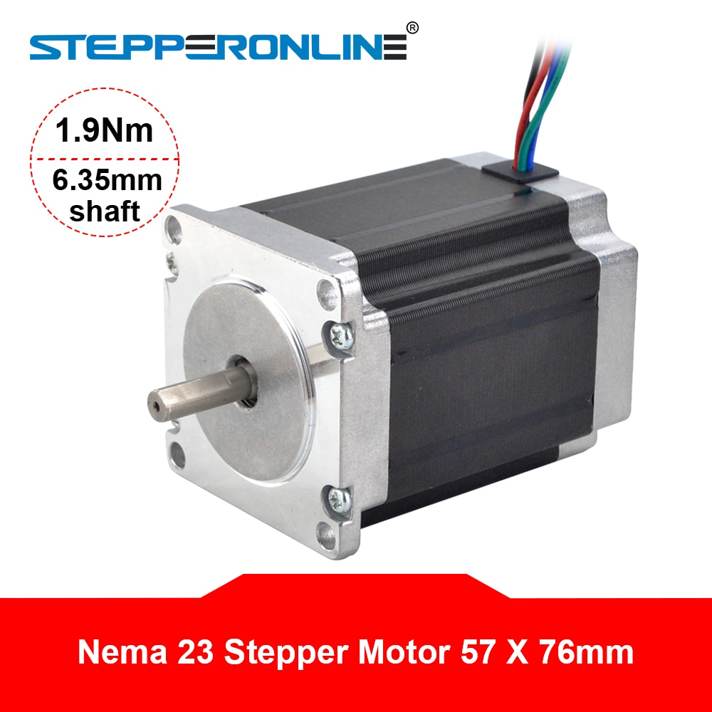 de ship free vat 4 pcs nema23 425oz in 2 8n m 112mm length single shaft stepper motor stepping motor 3a for cnc router engraving Nema 23 Stepper Motor 1.9Nm 2.8A 57x76mm Stepper Nema23 Motor 6.35mm Shaft 4-lead for 3D Printer/ CNC Router