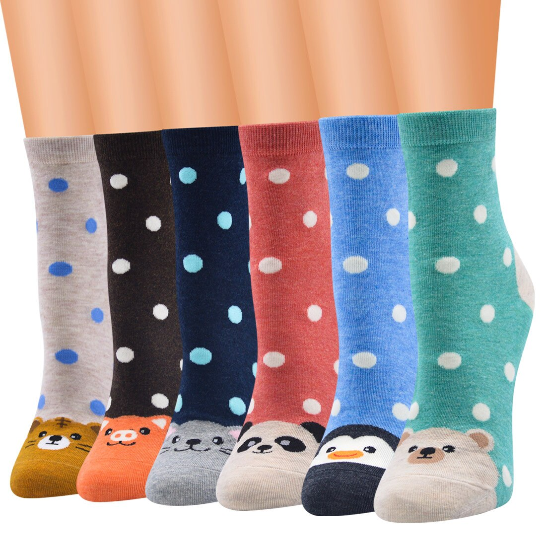 Combed Cotton Low Tube Ankle Size Korean Style Polka Dot Animal Cartoon Socks For Women