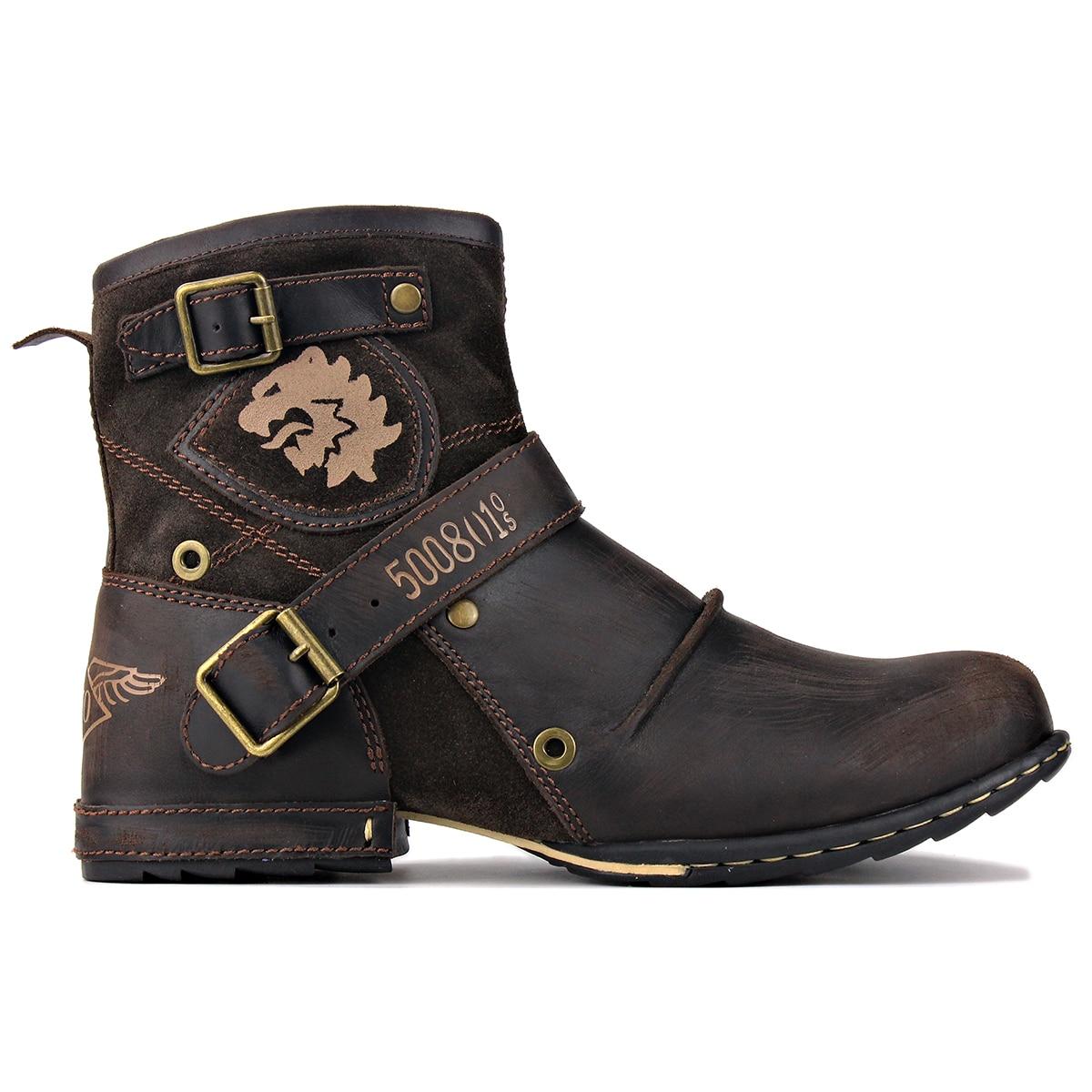 أحذية جلدية أصلية للرجال ، أحذية عمل عالية الجودة ، أحذية كاوبوي Chukka ، سحاب ، أحذية غربية مصنوعة يدويًا
