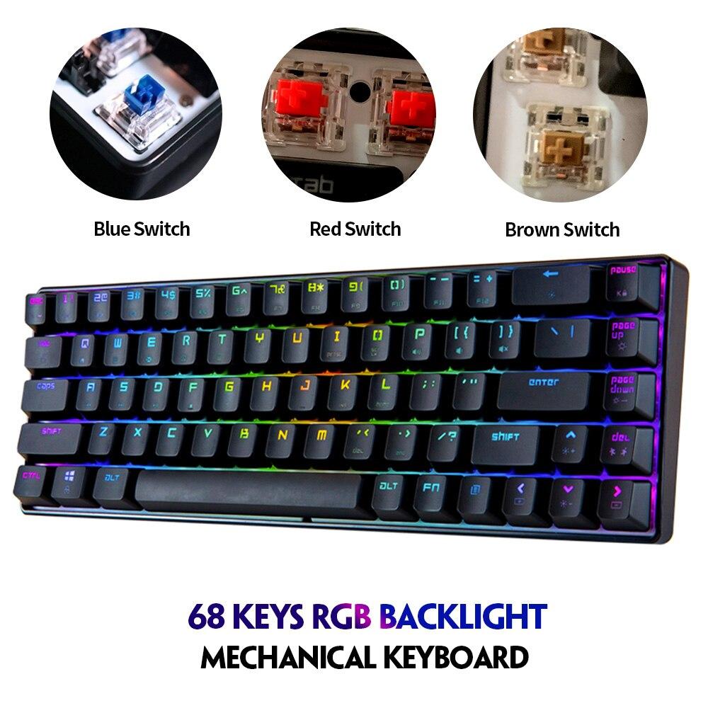 Magia refinador mk14 rgb 68 teclas teclado mecânico jogo azul interruptor typewriting usb anti-ghosting para computador portátil trabalho de escritório