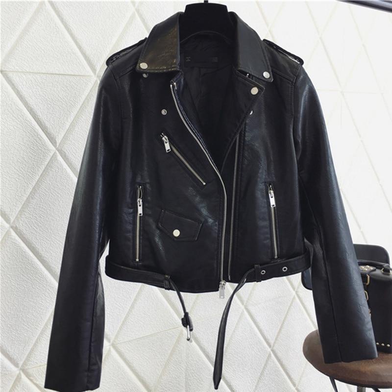 SALEQI модная женская куртка из искусственной кожи яркого цвета, черные мотоциклетные куртки, короткие Байкерские Куртки из искусственной кож...