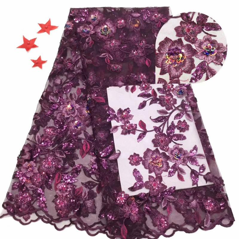 Mais recente design exclusivo de alta qualidade tecido renda africano net tecido renda francesa tule lantejoulas tecido renda nigeriano vestido noite
