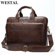 WESTAL Men's Briefcases Laptop Bag 15inch Men Genuine Leather Bags for Document Totes Big Messenger Computer Bags for Men 8841