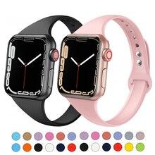 Correa delgada para Apple watch, banda de silicona suave de 38mm, 44mm, iWatch 7, 6, 4, 3, se 5, 40mm, 42mm