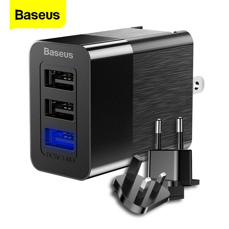 Baseus 3 порта USB зарядное устройство 2.4A Быстрая зарядка зарядное устройство для путешествий 3 в 1 EU US UK зарядное устройство для мобильного телефона для iPhone X Xiaomi