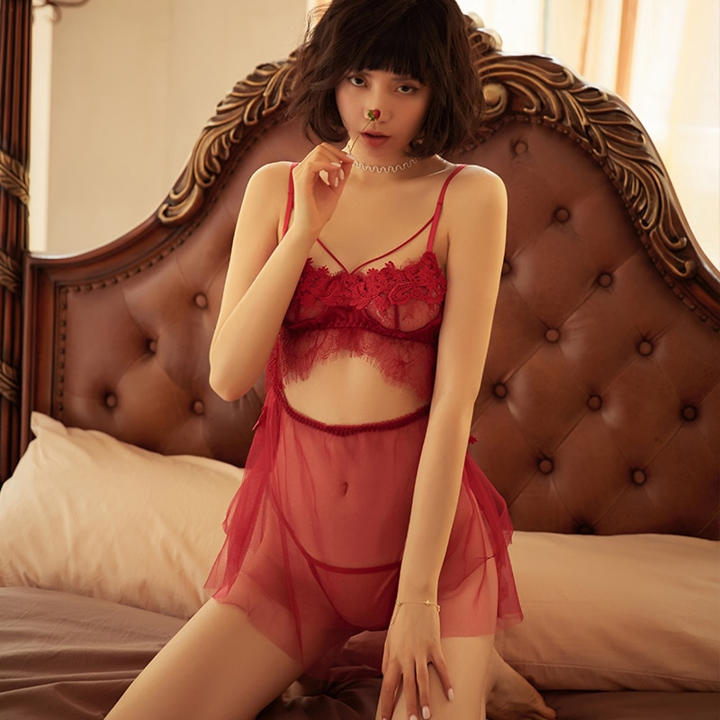 Sexy déshabillé en dentelle femme été mince jarretelle sangle robe de nuit court dos maison vêtements culotte nuisette chemises de nuit tentation