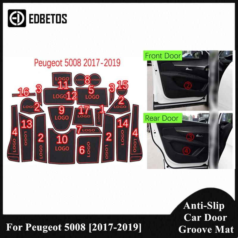 Para Peugeot 5008 MK2 2017, 2018, 2019, 5008, II 2 SUV 2nd Gen Anti-Slip sucio esteras con surcos para puerta para Peugeot 5008 puerta ranura montaña Mat