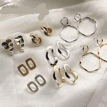 AOMU corée nouvelle couleur or plaqué Vintage grand cercle perle goutte boucles doreilles mat géométrique ovale rond en métal noeud boucles doreilles pour les femmes