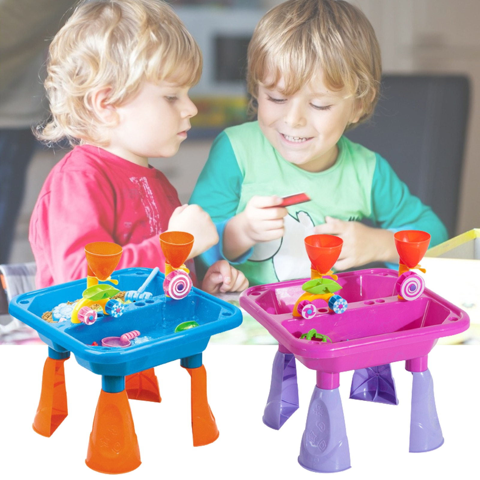 Children Beach Table Sand Play Toys Set Baby Sand Dredging Toy Beach Sand Toy Set Summer Outdoor Beach Seaside Shovel Tools Toy starry sky sand beach toy 18 piece sand set magic space clay sand puzzle power toys