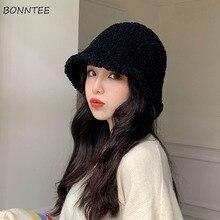 Seau chapeaux femmes hiver artificiel chaud esthétique casquette solide conception plus récent Ins Feminino plein air Chapeau Invierno dôme adolescents