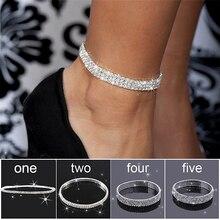 Wielowarstwowy rząd kryształ Rhinestone Stretch plaża Anklet Chain bransoletka biżuteria dla kobiet