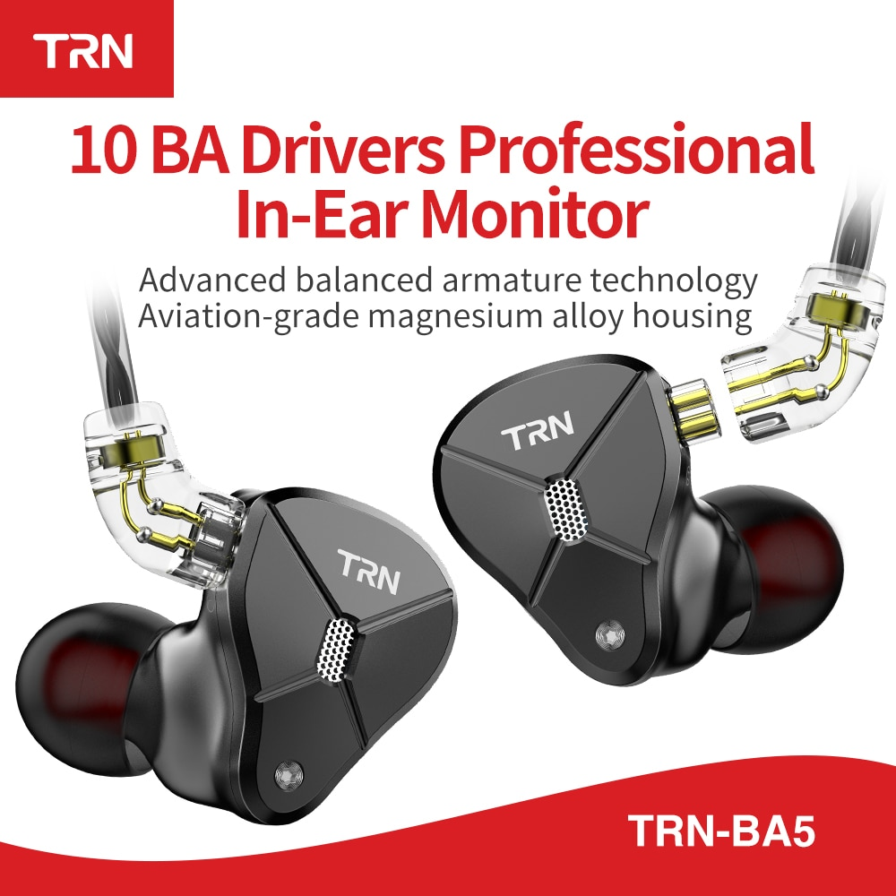 TRN BA5 10BA Fahrer Einheit In Ohr Kopfhörer 10 Ausgewogene Amarture HIFI DJ Monitor Kopfhörer Earbuds Mit QDC Kabel TRN v80 V90 T200
