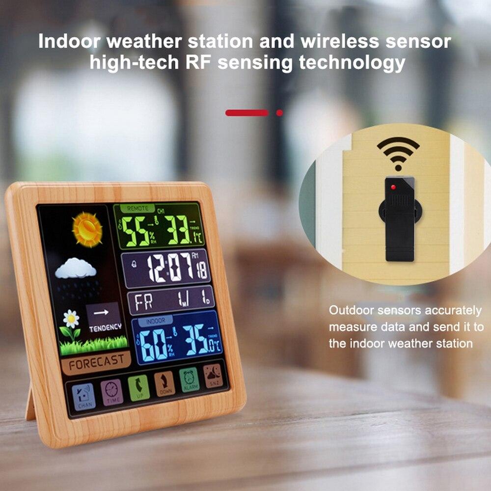 Controle de Toque sem Fio Automático Eletrônico Tempo Relógio Termômetro Withbacklight Display Lcd Colorido Alarme Calendário