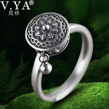 V. YA 100% 925 argent bague bouddhiste pour les femmes tibétain prière roue anneau OM Mantra bague bonne chance femmes anneau