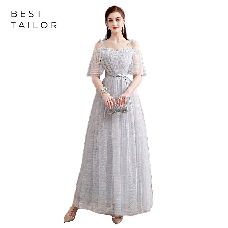 Fairy Bridesmaid Dresses 2021 Long Formal Wedding Guest Gowns vestidos de fiesta de noche Net Lace Maid of Honor Gown