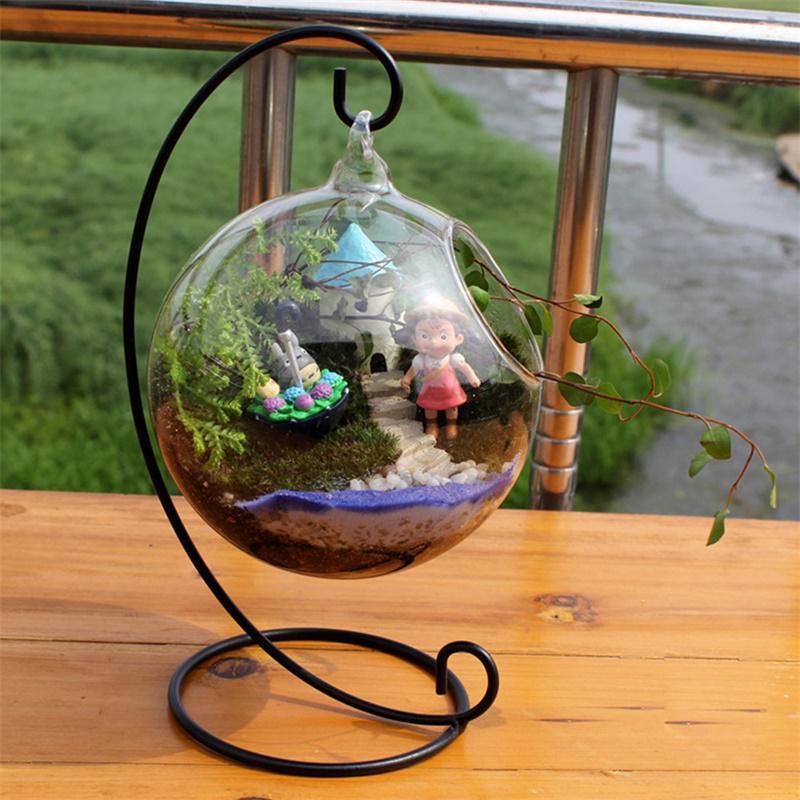 Florero de bola de vidrio transparente creativa, Micro paisaje, planta epifita para terrario, maceta colgante suculenta, contenedor