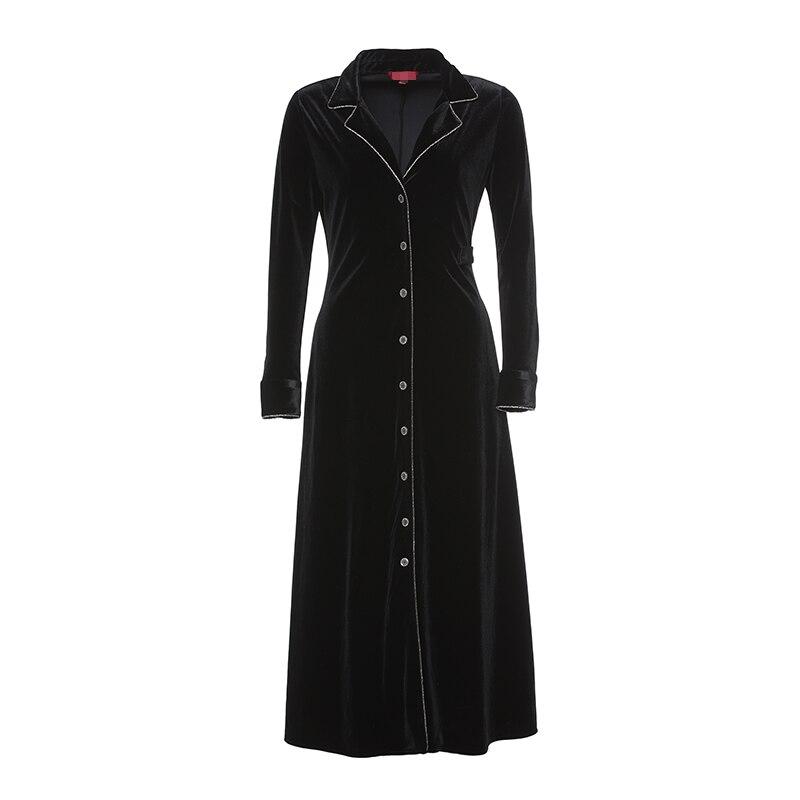 cami velvet vintage loose dress Banulin High Quality Vintage Black Velvet Turtleneck Suit Collar Party Dress Women Elegant Buttons Long Sleeve Dress Coat N79099