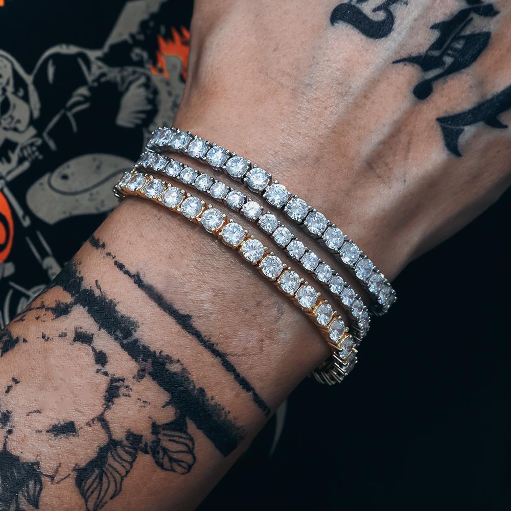 P&Y Custom 925 Silver 4mm GRA Certificated VVS Moissanite Diamond Hip Hop Iced Out Bling Tennis Men Women Bracelets