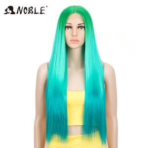 Noble Synthetic Wigs For Black Women Green Color Hair Long straight 30inch Heat Resistant fiber Cosplay Wigs