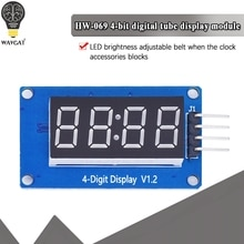 Módulo de pantalla LED TM1637 para Arduino, 7 segmentos, 4 Bits, 0,36 pulgadas, reloj, ánodo rojo, tubo Digital, paquete de placa controladora de cuatro series