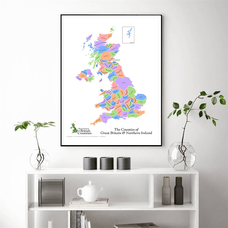 60*90 Cm The Great Britain and Northern Ireland Map Wall Poster Non-woven Canvas Painting Home Decor School Supplies