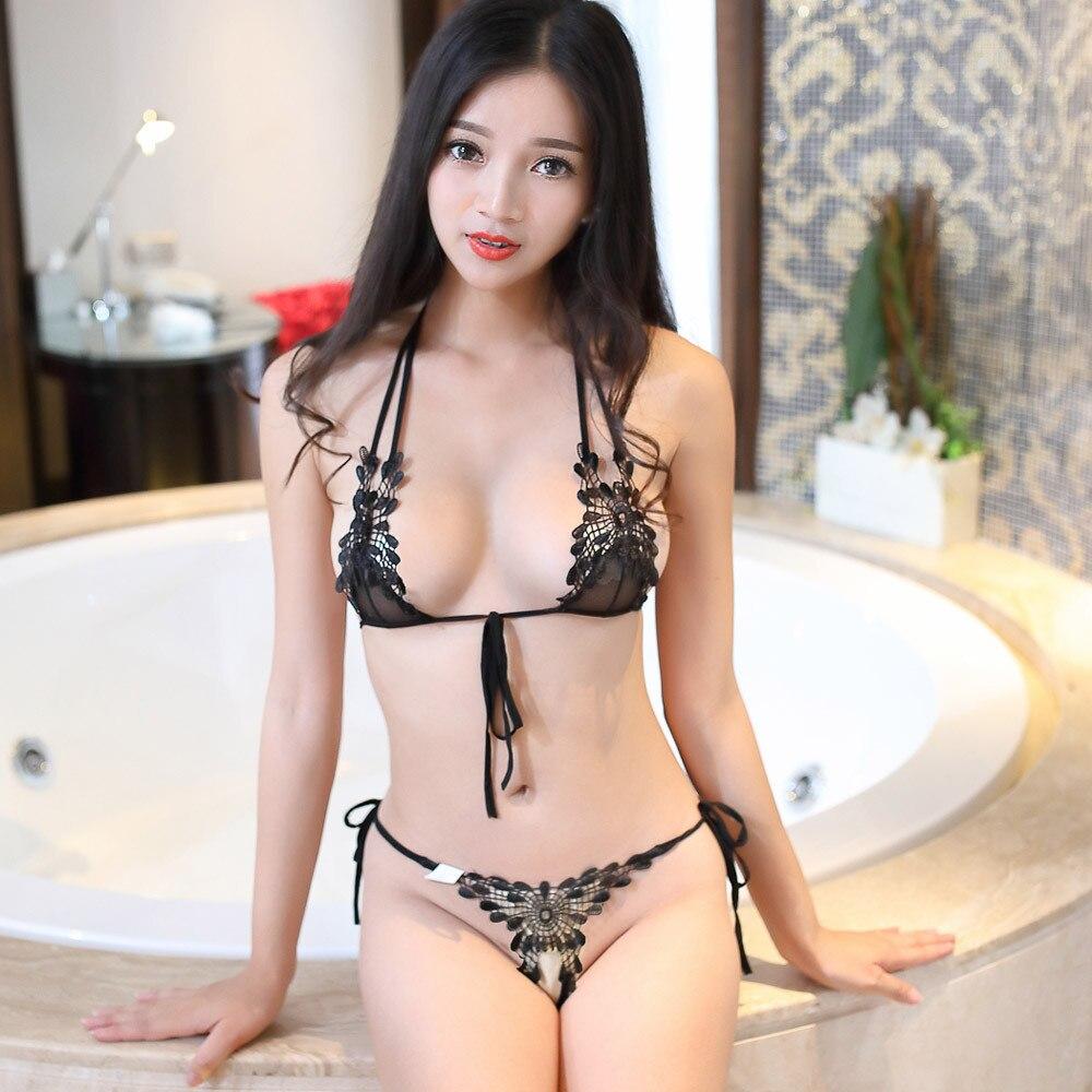 Ropa interior de mujer lencería Sexy sujetador erótico G-string mujeres encaje hasta Crotchless ropa interior Micro Bikini Porno ropa de dormir