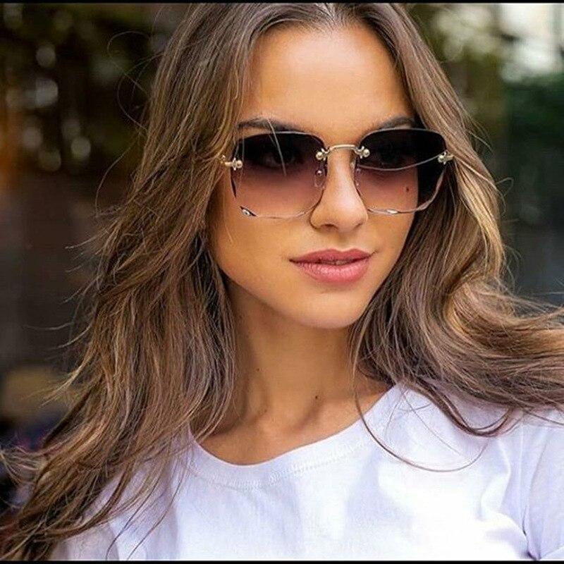 Square Sunglasses Women Frameless Gradient Sun Glasses Women/Men Brand Designer Retro Pink Outdoor L