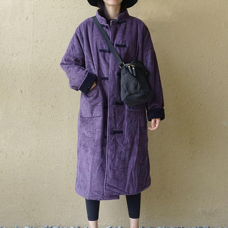 Abrigo rompevientos de pana grueso cálido holgado de talla grande de invierno 2019 nuevo Retro moda de manga larga todo-fósforo para mujer Abrigos