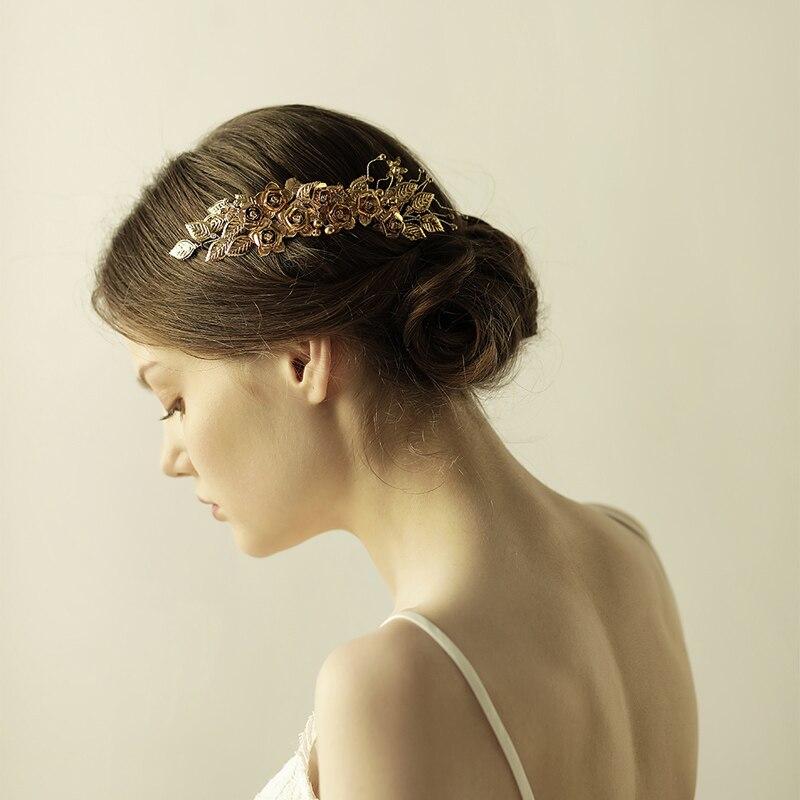 O840 Brass leaves and flowers handmade pearl crystal bridal hair comb rhinestone wedding bridal hairpiece недорого