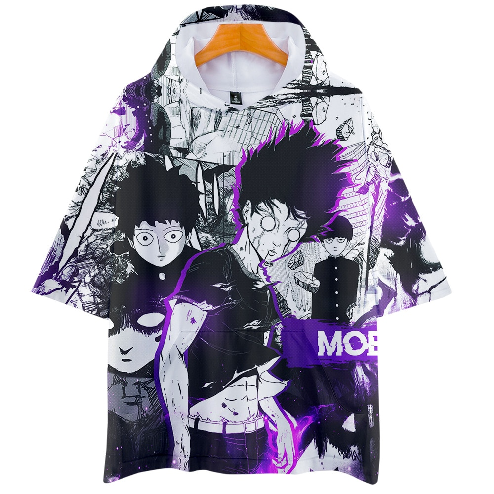 Mob Psycho 100 футболка аниме Mobu Saiko Hyaku 3d футболка с капюшоном для мужчин с коротким рукавом летняя забавная толстовка с капюшоном в стиле хип-хоп футболки