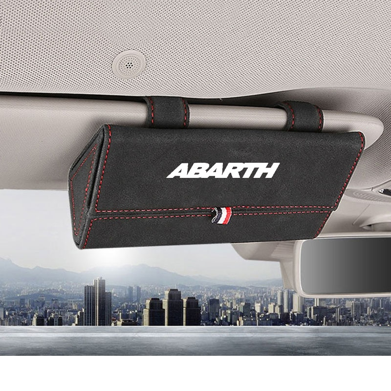 Accesorios de coche para Fiat Abarth flocado, estuche protector de gafas de...