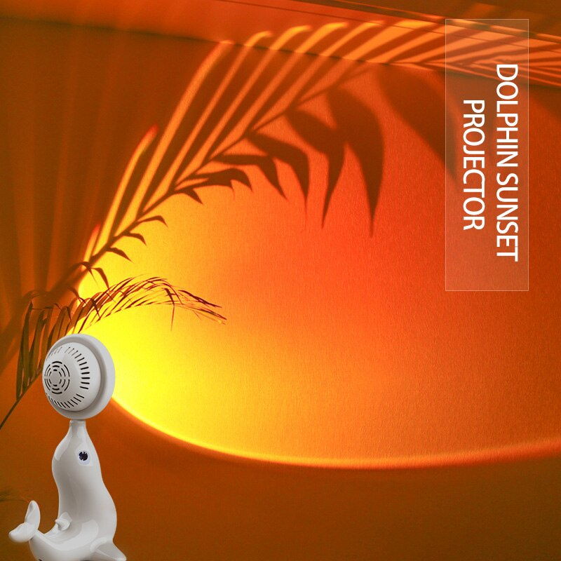 USB Sundown Lamp Sundown Projector Mood Light Room Bedroom Dolphin Night Light Room Decor Bar Atmosphere Photography Background недорого